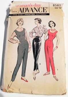 1950s Jumpsuit fitted sleeveless tapered pants blouse