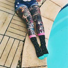 """""""@happysocksofficial  #happysocks #socks #ink #tattooedlegs #tattoo #inkedlegs #tattoos #france #lerove #pool"""""""