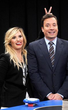 Demi Lovato looks adorbs goofing off with Jimmy Fallon.