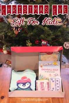Perfect gift for Christmas Eve! Pajamas, Cookie Mix, Popcorn & Hot Chocolate, Book or Movie