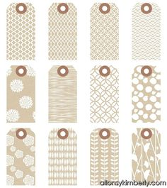 Free printable gift tags - many different styles including these patterned kraft tags.