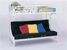 Futon Bunk Bed Fordham C Shape in White Finish - $362.00 : Furniture ...what a crazy good idea!