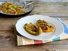 Fette di peperoni ripieni al forno