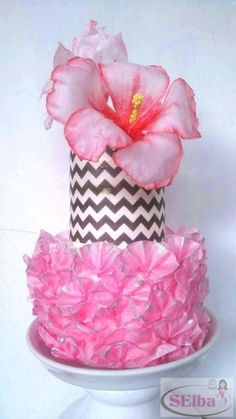 Hibiscus and Ruffles Sugar Paste wedding cake - Cake by Daniel Guiriba 2 Tier Cake, Tiered Cakes, Fondant Flowers, Sugar Flowers, Chevron Cakes, Ruffle Cake, Wafer Paper, Cake Icing, Cake Decorating Techniques