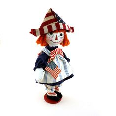 Classic OOAK 2002 Janie Comito~4th of July Raggedy Annie~Jointed Candy Container #4thofJuly