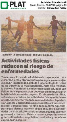 Clínica San Felipe: Actividad física infantil en el diario Correo de Perú (22/07/2017)
