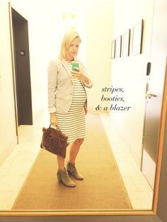 maternity fashion - stripes, booties and blazers