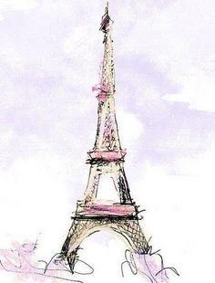 Eiffel Tower in pastel watercolors