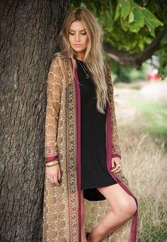 Burgundy & Beige Sari Jacket