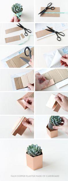 Cómo hacer portamacetas geométricos de cartón  #diy #handmade #decoracion