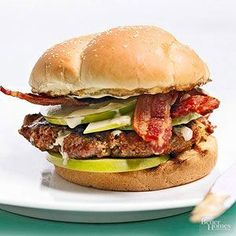 Made with half sausage and half beef, this flavorful Apple Bacon Burger recipe is one of the tastiest 30-minute meals you'll ever try. Layer your apple burger up with crisp bacon to make the perfect sweet and salty combination.