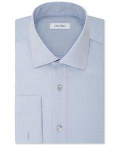 Calvin Klein Steel Men's Classic-Fit Non-Iron Performance French Cuff Dress Shirt - Blue 14.5 32/33