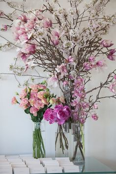 shabby chic pink flowers as table decor for wedding seating cards | TriBeCa Rooftop Wedding | 5th Avenue Digital
