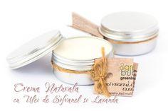CREMA VEGETALA 100% NATURALA cu ULEI SOFRANEL si ULEI ESENTIAL LAVANDA – 20 lei  Crema pentru fata si corp realizata manual din uleiuri si unturi vegetale. Calmant, antirid, regenerator, sedativ, relaxeaza si hraneste pielea. Recomandată pentru toate tipurile de piele. Contine: ulei sofranel bio, unt cocos, ceara de albine bio, vitamina E, apa purificata si ulei esential de lavanda. Nu contine conservanti, coloranti, grasimi animale, parfumuri artificiale sau aditivi chimici. 50g – 20 lei Handmade Cosmetics, Fragrance, Soap, Place Card Holders, Vegan, Natural, Soaps, Perfume, Au Natural