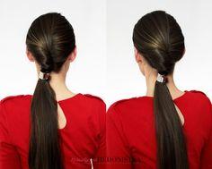 Oryginalne fryzury - kucyk z ozdobną gumką