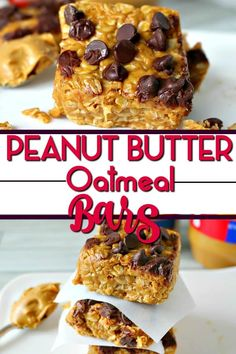 No Bake Peanut Butter Oatmeal Bars are the perfect quick breakfast or afternoon snack. Ready in 10 minutes - Healthy and delicious! Healthy Afternoon Snacks, Yummy Healthy Snacks, Quick Snacks, Healthy Cookies, Healthy Baking, Snack Recipes, Dessert Recipes, Desserts, Healthy Food