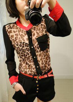 Leopard Pattern Color Block Puff Sleeve Shirt    dresslily.com