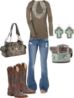 """Brown & Teal Cowgirl"" by ashleyelliott-1 on Polyvore...not the boots! there's for sure waaay nicer boots for that outfit..."