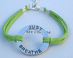 Silver JUST BREATHE  Circle Infinity Charm Bracelet - Faux Suede Leather Cord  Bracelet - Pick Color/Size - Made in Canada  R#755