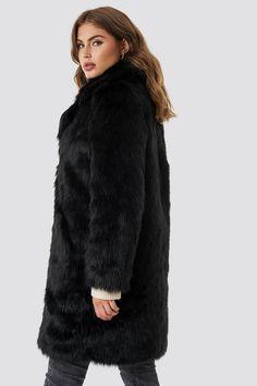 c78efb69f0c0 Black Faux Fur Coat - Women s Black Faux Fur Coat -