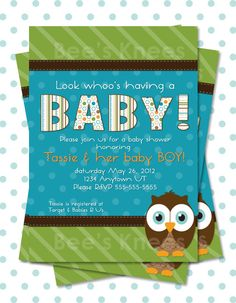 owl Baby Shower Invitation invite Printable owl Themed for Baby Boy customized - you print. $12.99, via Etsy.