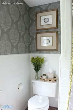 small basket above toilet to hold decorative items