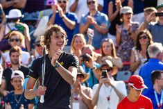 Alexander Zverev Photos - Alexander Zverev of Germany reacts after defeating Roger Federer of Switzerland 6-3, 6-4 in the final during day ten of the Rogers Cup presented by National Bank at Uniprix Stadium on August 13, 2017 in Montreal, Quebec, Canada. - Rogers Cup Presented by National Bank - Day 10
