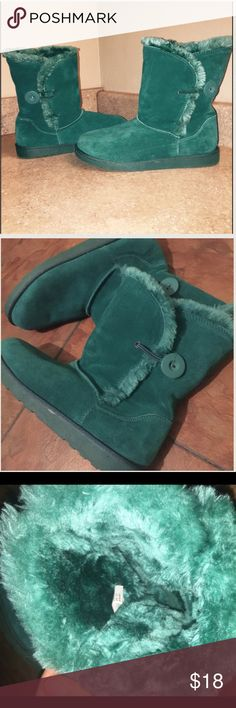 Green Fur Boots! Super Comfortable and Soft, green fur boots! Button on the side. True to color and size. Worn once. Perfect condition. Very comfortable and unique! Shoes Winter & Rain Boots