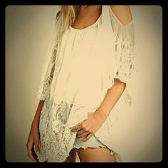 boho dress/cover-up Boho white lace embroidered dress can be worn with shorts for a nice cool look or used as a swimsuit cover-up. I have sizes small, medium, large, and X-large on order. Will be sold for $22. Price is firm unless bundled Dresses Midi