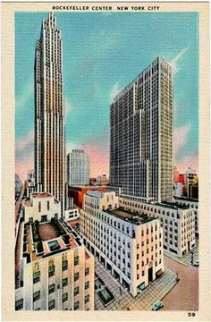 Vintage New York City Postcard -- Rockefeller Center from Fifth Avenue ~~~ The VintagePlum Shop on Etsy ~~~ New York City Buildings, Building An Empire, Nyc Art, Vintage New York, Rockefeller Center, Vintage Postcards, Skyscraper, Etsy Vintage, Art Deco