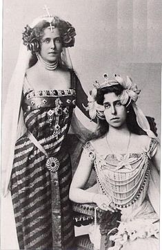 Ducky and Missy, Queen Victoria's Granddaughters. Missy became Queen of Rumania. Ducky was the first grandchild of Victoria to divorce. They don't look very happy in this photo. Queen Victoria Family, Queen Victoria Prince Albert, Victoria And Albert, Princess Victoria, Royal King, Royal Queen, King Queen, Princess Alexandra, Princess Beatrice