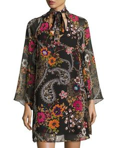 TDJ19 Label by 5Twelve Floral-Print Self-Tie Tunic Dress, Black