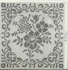 Filet Crochet Charts, Crochet Diagram, Crochet Motif, Crochet Lace, Crochet Dollies, Pixel Design, Crochet Tablecloth, Cross Stitch Flowers, Crochet Cardigan