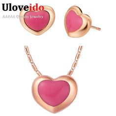 Find More Jewelry Sets Information about Fashion Jewelry Sets Pink White Enamel Earrings 2015 Jewelry Chain Necklace for Women Heart Rose Gold Plated Pendant Ulove T439,High Quality necklace pandora,China necklace lion Suppliers, Cheap necklaces for women gold from ULOVE Fashion Jewelry on Aliexpress.com