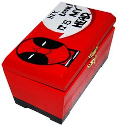 Cutie | Deadpool | wood box painted with Deadpool's head |  Follow my work here: https://www.facebook.com/GameArtRo/ and here: https://www.instagram.com/game_art_gifts/  #handpaintedtshirt #Customart #watercolor #effect #blackandwhite #colors #funnytshirt #custom #woodbox #poartaopictura #daruiesteOpictura #giveapainting #wearapaintig #personalizeazacadoul #cadouinteresant #cadou #cadouupersonalizat #cutiepictata
