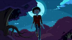 Marshall Lee with green skin due to the lightning of the Biennial Gumball