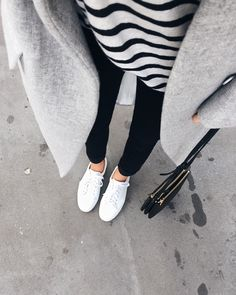 View from here - minimal and classic - grey coat, black + white striped tee, black jeans & white sneakers - Céline Fashion Mode, Minimal Fashion, Look Fashion, Fashion Trends, Net Fashion, Monochrome Fashion, Classy Fashion, Fashion Tips, Mode Outfits