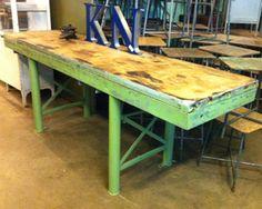 Industriele smalle lange tafel staal frame houten top