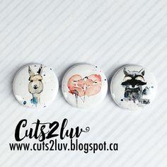"3 Badges 1"" Amis animaux"