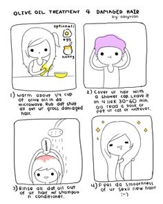 Olive Oil Hair Mask: Once a week heat olive oil and honey to boil. Comb through your hair to help your hair grow faster and make it super smooth. *cutest hair DIY ever! Beauty Secrets, Diy Beauty, Beauty Hacks, Beauty Guide, Fashion Beauty, Hair Secrets, Beauty Tutorials, Olive Oil Hair Treatment, Do It Yourself Baby