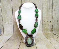 Turquoise and Leather Necklace - T9 - by daksdesigns on Etsy
