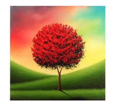 Modern Tree Art Impasto Painting, Canvas Art Landscape Painting, ORIGINAL Oil Painting, Whimsical Red Tree Painting, Multicolored Art, 8x8 by BingArt on Etsy