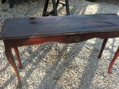 the cherry sofa/entryway table before I worked on it