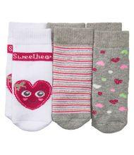 Socken - gestreift, Herzen, Glitzer - 3er-Pack