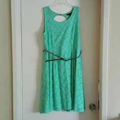 "Lane Bryant  knee length dress w/belt Beautiful mint green color with a ""lace like"" overlay pattern. Very comfortable. Only worn one time. Size 16. Shell is 98% Nylon, 2% Spandex. Lining is 100% Polyester. Lane Bryant Dresses"
