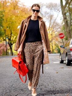 Ah- we love printed pants! Pick out a color in the pant and opt for a solid top or outerwear piece.