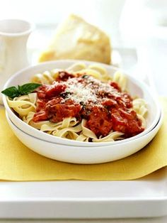 You can serve the creamy marinara-like sauce over any pasta. We chose fettuccine to make this sophisticated side dish.