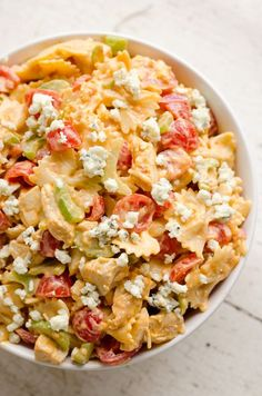 These Easy Pasta Salad Recipes Are Perfect for Summer Potlucks 59 Summer Pasta Salad Recipes – Easy Ideas for Cold Pasta Salad Buffalo Chicken Pasta Salad, Chicken Pasta Salad Recipes, Easy Pasta Salad Recipe, Healthy Salad Recipes, Ranch Chicken, Chicken Salad, Pasta Meals, Mayo Chicken, Fresh Chicken