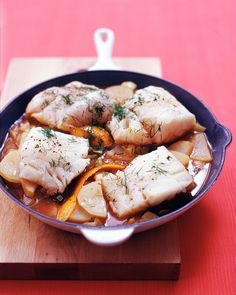 Cod with Fennel and Potatoes   Martha Stewart Living - Cod's bold, oily juices meld quickly with the sauce of fennel, tomatoes, and broth, draping tender potato slices in their combined aromas and flavors.