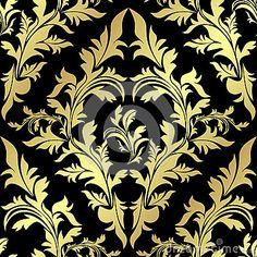 Golden seamless floral Pattern on black